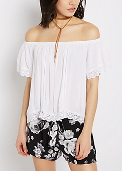 White Geo Crochet Off-Shoulder Shirt