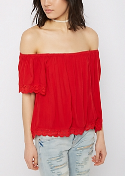Red Geo Crochet Off-Shoulder Shirt