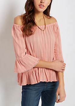 Striped Gauze Off-Shoulder Top