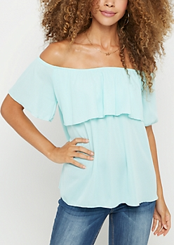 Light Blue Flounce Chiffon Off Shoulder Top