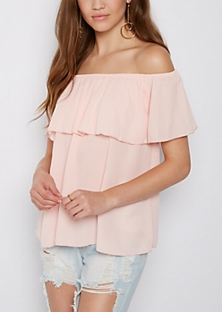 Pink Flounce Chiffon Off Shoulder Top