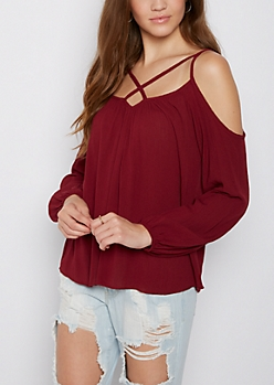 Burgundy Lattice Cold Shoulder Top