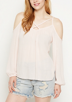 Pink Lattice Cold Shoulder Top