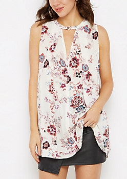 Ivory Wildflower Gauze Tunic Tank