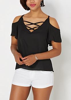 Black Lattice Cold Shoulder Top