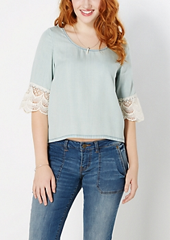 Crochet Sleeve Babydoll Top by Wild Blue x Sadie Robertson™