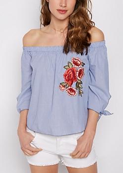 Embroidered Rose Pinstripe Off Shoulder Top