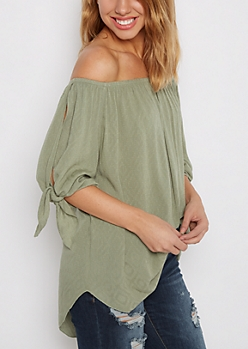 Green Knotted Sleeve Off-Shoulder Top