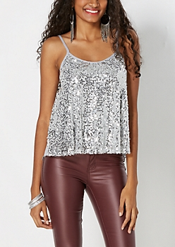 Gray Sequined Swing Tank