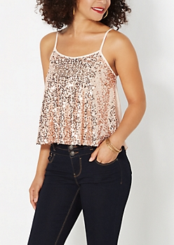 Rose Sequined Swing Tank