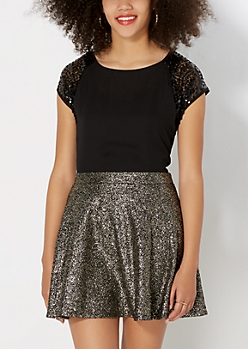 Black Sequined Chiffon Top