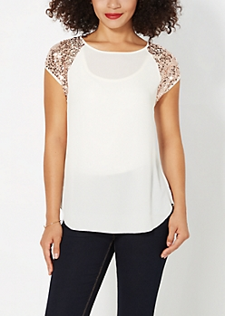 Ivory Sequined Chiffon Top