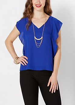 Pendant Necklace V-Neck Flutter Blouse