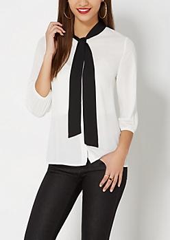 White Tie Neck Blouse
