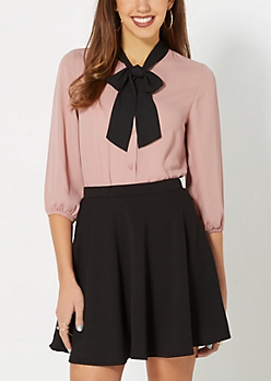 Dusty Pink Tie Neck Blouse
