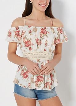 Rose Crochet Waist Cold Shoulder Top