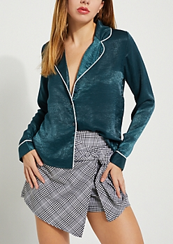 Teal Piped Shirt