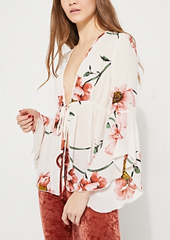 Pink Floral Tie Front Bell Sleeves Top