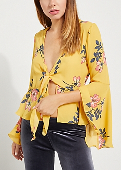 Yellow Floral Tie Front Top
