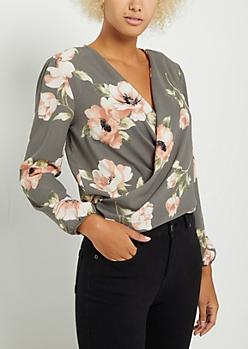Gray Floral Surplice Tie Back Blouse