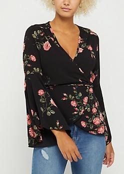 Black Floral Wrap Top