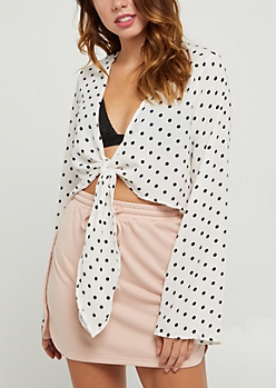 Ivory Polka Dot Tie Front Blouse