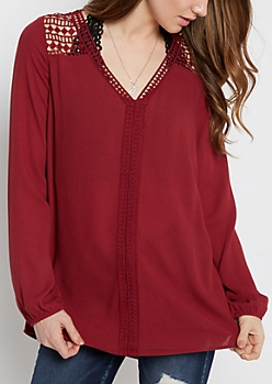 Burgundy Geo Crochet Trimmed Peasant Top