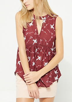 Burgundy Floral Cutout Keyhole Top