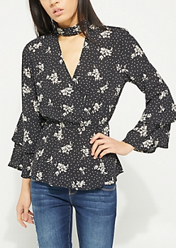 Floral Polka Dot Surplice Cutout Blouse
