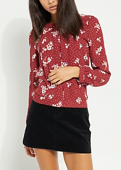 Burgundy Floral Pleated Top