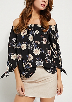 Black Floral Off Shoulder Tie Sleeve Top