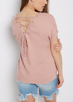 Pink Lace-Up Back Tee