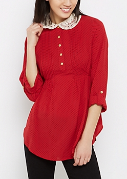Polka Dot Crochet Collar Blouse