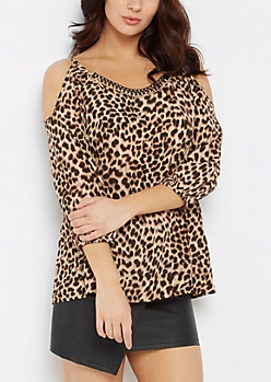 Chain Accent Cheetah Cold Shoulder Top