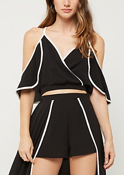 Cold Shoulder Surplice Cut Crop Top