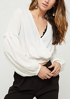 White Surplice Crepe Crop Top