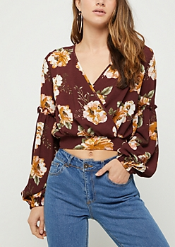 Burgundy Floral Surplice Crepe Crop Top