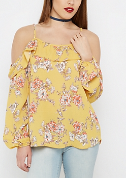 Floral Flounce Cold Shoulder Top