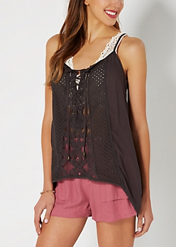 Charcoal Lace-Up Crepe Sharkbite Tank by Clover + Scout®