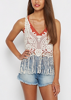 Vintage Crochet Fringed Tank by Clover + Scout®