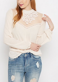 Netted Lace Yoke Blouse by Clover + Scout®