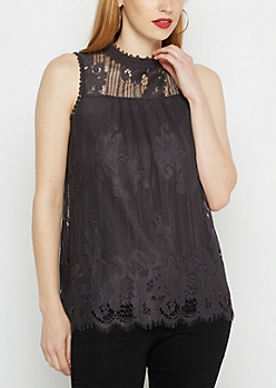 Floral Lace Mock Neck Tank By Clover + Scout®