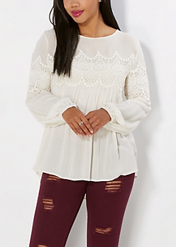 Ivory Crochet Peasant Top by Taylor & Sage®