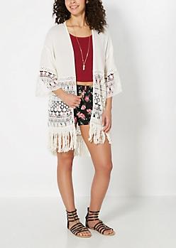 Deep Crochet Border Gauze Kimono
