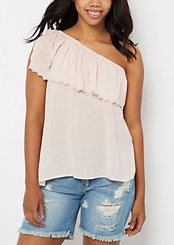 One-Shoulder Flounce Top By Clover + Scout