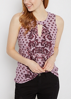 Purple Boho High Neck Tank by Clover + Scout