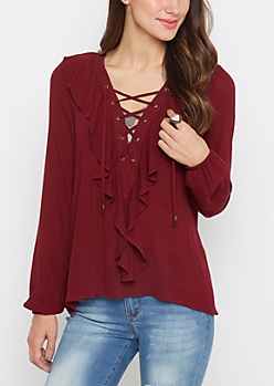 Burgundy Ruffled Lace Up Blouse by Clover + Scout®