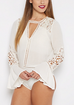 Ivory Victorian Keyhole Bodysuit By Clover + Scout®