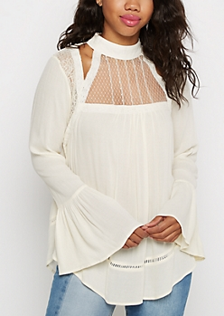 Ivory Lace Yoke Blouse by Clover + Scout
