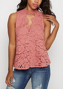 Burnt Orange Lace Tank Top By Clover + Scout